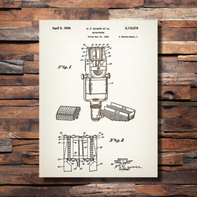 Microphone Patent Art Carved Wooden Sign