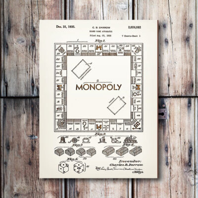 Hasbro Monopoly Board Game Patent Art Wood Sign
