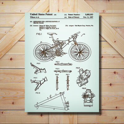 Mountain Bike Patent Carved Wood Art Sign
