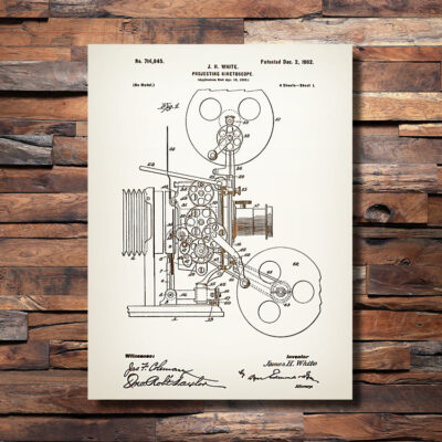 Movie Projector Patent Wood Art Sign