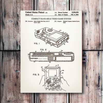 Nintendo Gameboy Wood Patent Art
