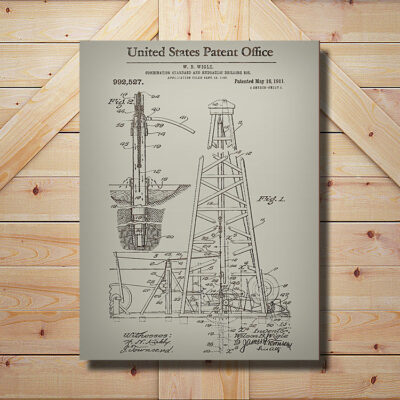 Oil Rig Patent Wooden Art SIgn