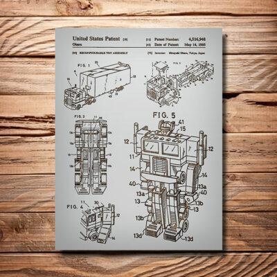 Optimus Prime Transformer Patent Carved Wooden Art Sign