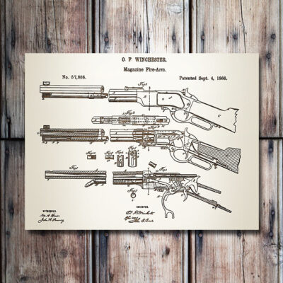 PG033 Winchester Rifle Patent Wooden Art Sign