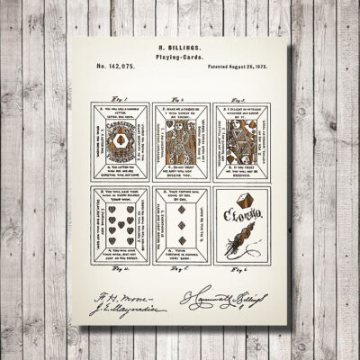 Playing Cards Patent Carved Wood Sign