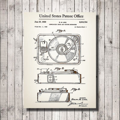 Record Player Patent Carved Wood Art Sign