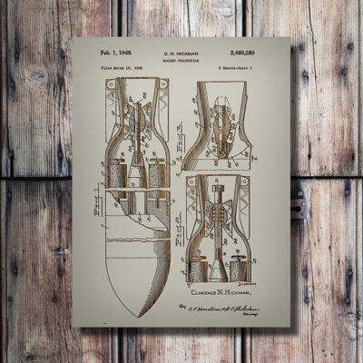 Rocket Projectile Patent Carved Wooden Sign