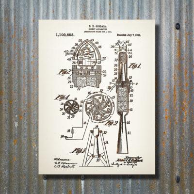 Rocket Patent Art Carved Wood Sign