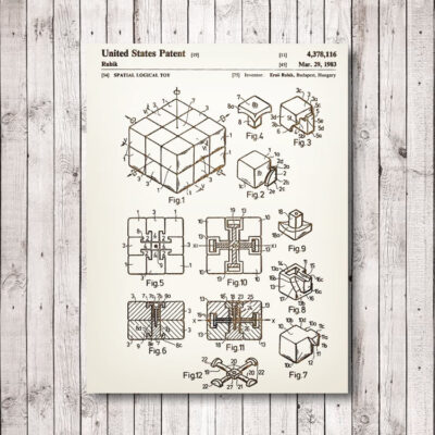 Rubiks Cube Carved Wooden Patent Art