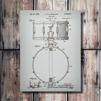 Snare Drum Patent Art Wood Sign