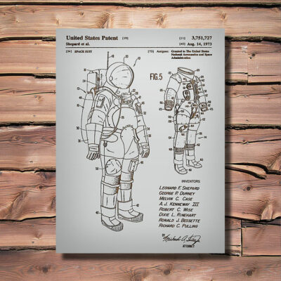 Space Suit Patent Carved Wooden Art Sign