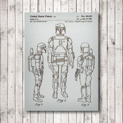 Star Wars Boba Fett Wooden Patent Art