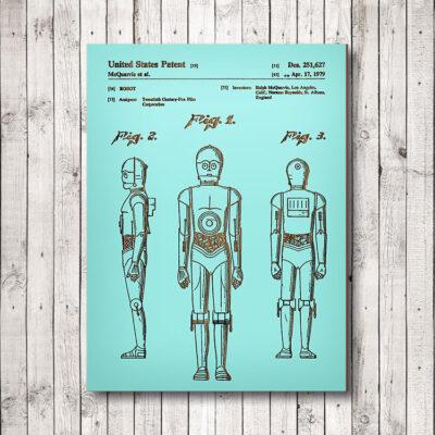 Star Wars C3PO Wood Patent Art