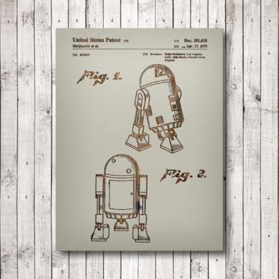 Star Wars R2D2 Wooden Patent Art