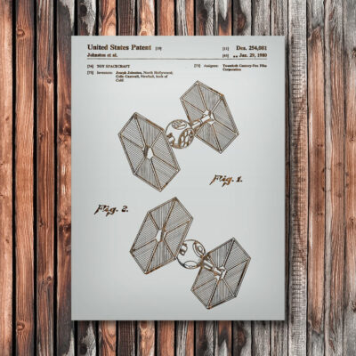 Star Wars Tie Fighter Wooden Patent Art
