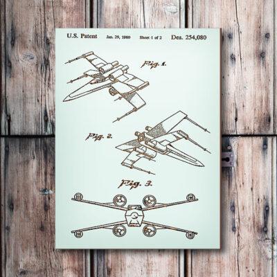 Star Wars X-Wing Wooden Patent Art