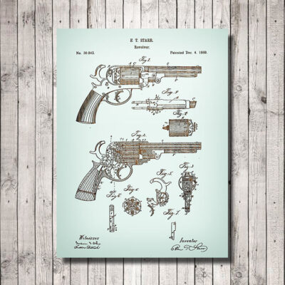 Starr Revolver Patent Carved Wooden Weapon Art Sign