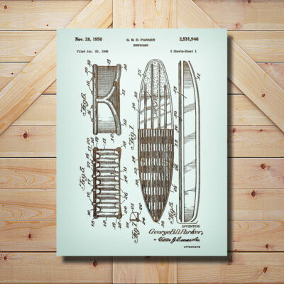 Surfboard Patent Art Carved Wooden Sign
