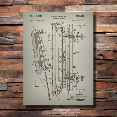 Tapering Machine Patent Carved Wood Art Sign