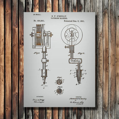 Tattooing Machine Patent Carved Wood Art SIgn