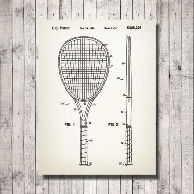 Tennis Racket Patent Wooden Art Sign