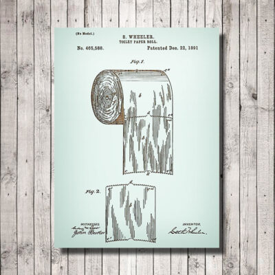 Toilet Paper Patent Carved Wood Art Sign