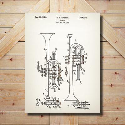 Trumpet Patent Carved Wood Art