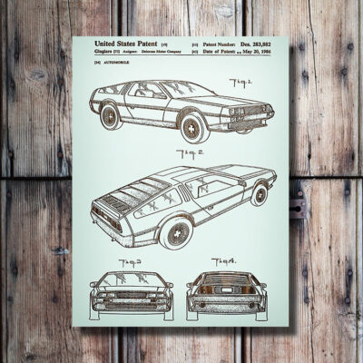 Delorean Patent Carved Wooden Art Sign
