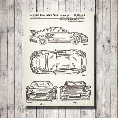 Porsche 911 Patent Carved Wood Art Sign