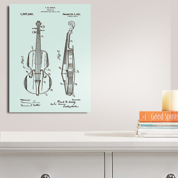 Ashley Violin Patent Wood Art Sign