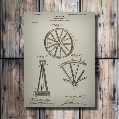 Wagon Wheel Patent Art Carved Wooden Sign