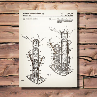 Water Pipe Patent Carved Wood Art Sign