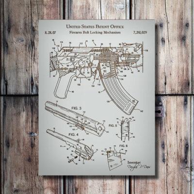AK-47 Rifle Patent Art Wood Sign