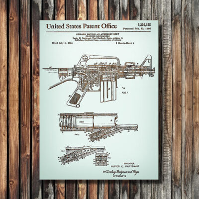 AR-15 Rifle Patent Carved Wood Weapon Art