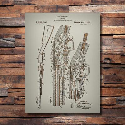 Browning Shotgun Patent Carved Wood Sign
