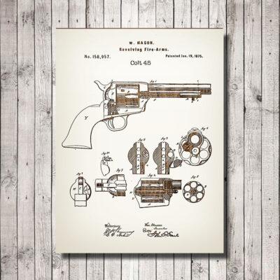 Colt 45 Patent Weapon Art Wood Sign