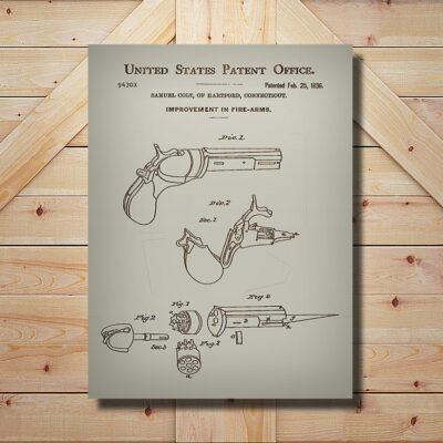 Colt Firearm Weapon Patent Wood Art Sign