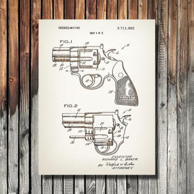 Colt Snubnose Revolver Weapon Art Wood Sign