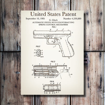Glock Pistol Patent Carved Wood Weapon Art Sign
