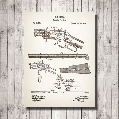 Henry Rifle Patent Carved Wood Art Sign