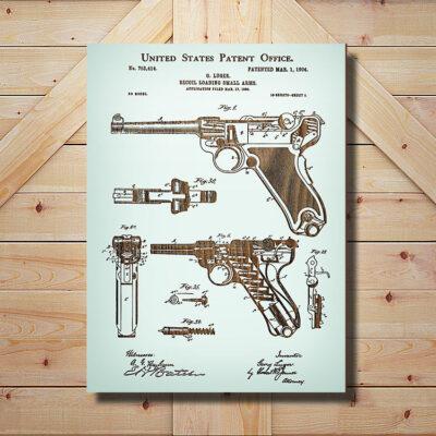 Luger Handgun Patent Wooden Firearm Art