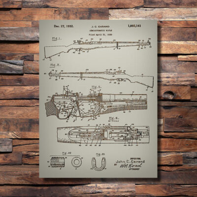 M1 Garand Firearm Patent Carved Wood Sign