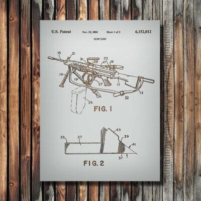 M249 SAW Machine Gun Firearm Patent Art Wooden Sign
