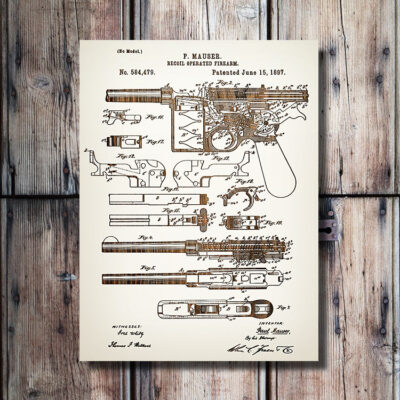 Mauser Firearm Patent Art Carved Wood Sign