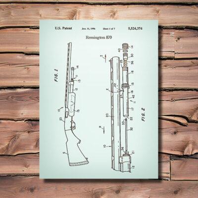 Remington 870 Firearm Patent Art Wood Sign