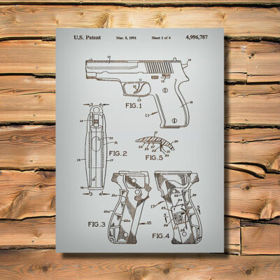 Sig Sauer Weapon Patent Art Carved Wood Sign