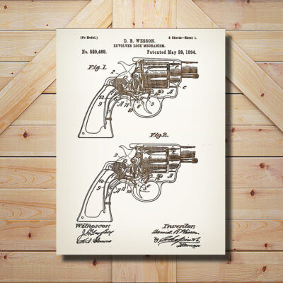 Smith and Wesson Revolver Patent Carved Wooden Sign