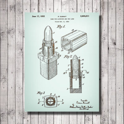 Lipstick Patent Carved Wood Art Sign
